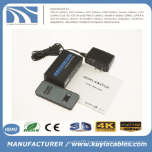 2x1 MINI METAL HDMI Switch 2Port Hub Box Auto Switch 2 In 1 Out Switcher 3D 1080p HD 1.4 With Remote Control