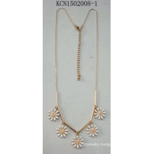 Metal Plated Necklace with Six Flower Pendant