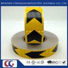 Fita reflexiva do PVC da seta preta e amarela com estrutura de cristal