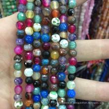 Natural 6mm facetada mistura-cor apatita redonda solta pérolas pedra preciosa jóias de pedras