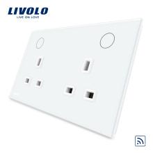 Livolo White / Black 13A Двойная розетка UK с функцией дистанционного управления VL-W2C2UKR-11