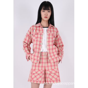 LADIES CROPPED CHECK JACKE