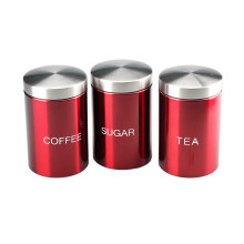 Conjunto de 3 potes de armazenamento de aço inoxidável