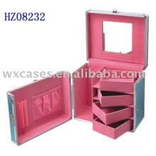 aluminum hair stylist case with 4 removable trays and a mirror inside