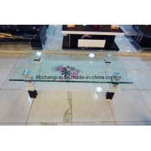 Nuevo diseño venta caliente moderna mesa de centro de vidrio