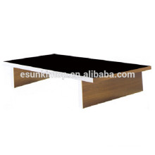 Glass top wood base coffee table wood leg cheap glass coffee table