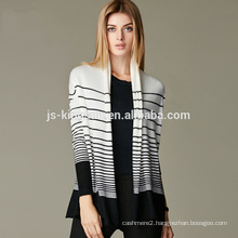 JS-16001 with strips open front 100% cashmere cardigan coat women