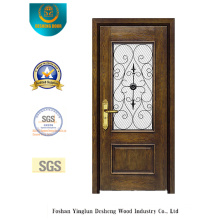 Puerta de seguridad estilo europeo con vidrio y hierro (B-9013)