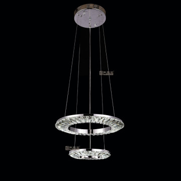 chrome rings chandelier modern led crystal lamp