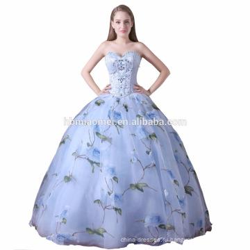 2017 быстрая доставка свадебные наряды бальное платье женщины платье с плеча печатные шаблоны паффи платье невесты оптовой
