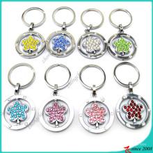 Porte-clés en métal en cristal de fleur en gros (KR16041915)