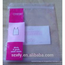 Bolso del ziplock PE con insignia de la impresión para la ropa del embalaje