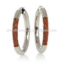 Grosso marrom trança couro brinco brincos de aço inoxidável hoop para mulheres jóias fornecedor