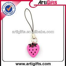 Strawberry shape pvc cell phone strap wholesale