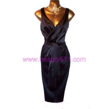 Vintage 40s 50s repro Black Satin Hollywood Wiggle Grecian Drape Dress GP005