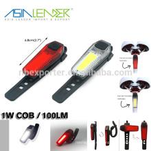 Líder de Asia Fácil de instalar sin herramientas Recargable COB bicicleta Tail Light