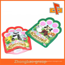 Accept OEM soft custom shape plastic bag for pet food or daily product packing with tear notch