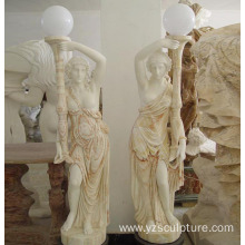 Mixed Color Marble Lady Lamp statue