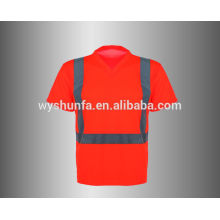 Высокая видимость V шеи безопасности футболка