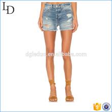 Pantalones cortos de moda al por mayor sexy mini denim rasgado las mujeres pantalones vaqueros cortos