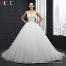 SL-042 Princess Wedding Dress V Neck Zipper Pearls Crystal Ivory Bride Dresses Tulle 2016
