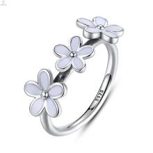Anel branco do esmalte da prata esterlina do zircão S925, anéis de flor do esmalte da prata da jóia da forma