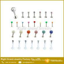 Projetos de aço inoxidável parafusos prisioneiros de lábio de anéis para a jóia piercing do corpo de lábio