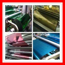 Película para animais de estimação com metalização colorida para laminação de papel