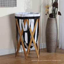 Collapsible Laundry Hamper with Stained Wood Frame