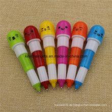 Fördernder kundenspezifischer Plastikverziehbarer Pillen-Kugelschreiber
