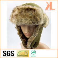 100% Polyester Fleece & Artificial Fur Ushanka Winter Hat with Ear Flap