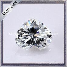 Pierre lâche de diamant de Moissanite de forme de coeur super blanc
