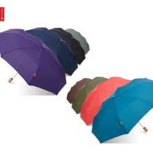Topumbrella Simple Solid Holzgriff Druck Logo Taschenschirm mit Tasche, tragbaren kleinen Regenschirm