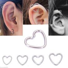 316L aço cirúrgico anel de coração de prata Helix Cartilage Tragus Daith Hoop brinco