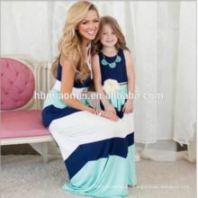 2017 nueva moda de verano de alta calidad de rayas familia mamá y yo vestido
