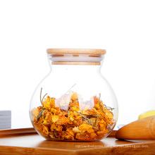 wholesale 450ml hand blown glass tea storage jar with cork lid