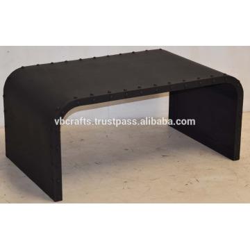 Industrial Metal Side Rivets Coffee Table Black Matt Finish