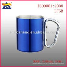 Taza de café de acero inoxidable de doble pared fabricante directo con asa mosquetón