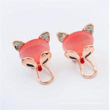 wholesale 2016 fashion pink fox Opal earrings fancy design earring