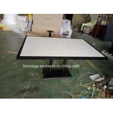 Mesa de comedor de restaurante de mármol Artificail blanco de 6 plazas Foh-Bmt1