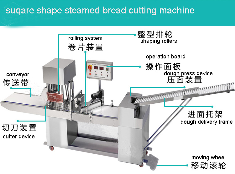 square shape steamed bun cutting machine