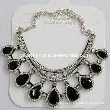 Woman Fashion Jewelry Black Waterdrop Glass Crystal Pendant Necklace (JE0210-black)