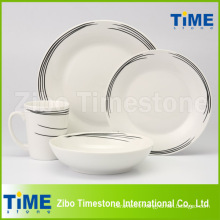 Fine Black Line Decal Dinner Set
