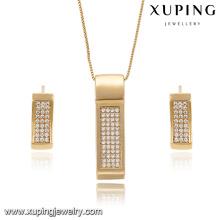 63896 Xuping bijoux de mode plaqué or rectangle en forme de boucle d'oreille et pendentif définit