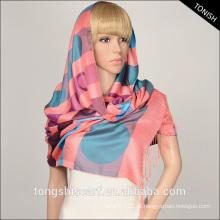 Fios tingidos dobby tecido hijab cachecol 100 poliéster cachecol polka dot inverno cachecol