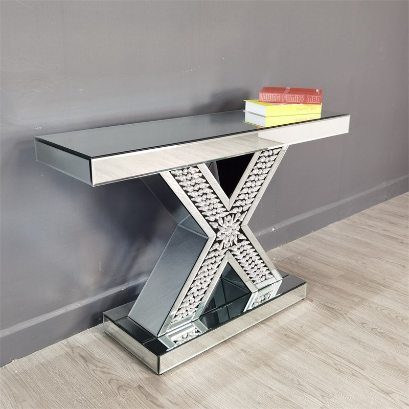 wide mirrored console table