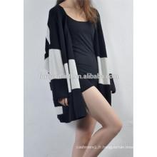 Mesdames coréen style couleur rayure cachemire cardigan tricoté chandail