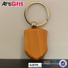 wholesale fashion key shaped key ring wood