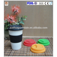 popular double wall ceramic mug with silicone lid