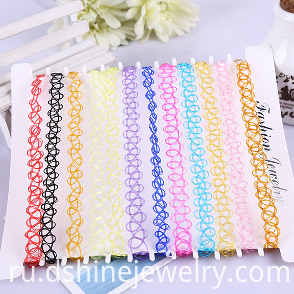Colorful Stretch Tattoo Choker Necklace Retro Gothic Punk Elastic Jewelry Women